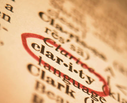 "Image of dictionary with word ""clarity"" circled"