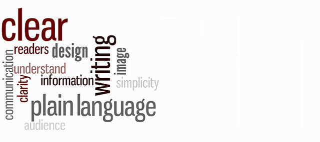 Image with words: clear, plain language, writing, design, etc.