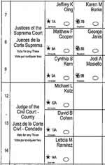 Section of the NYC sample ballot, showing arrangement of names and ovals