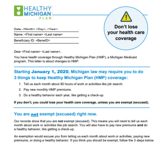 Healthy Michigan Plan Work Letters