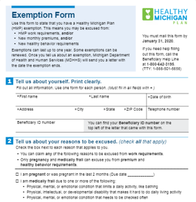 Healthy Michigan Plan Work Requirements Exemption Form & Healthy Michigan Plan Work Letters
