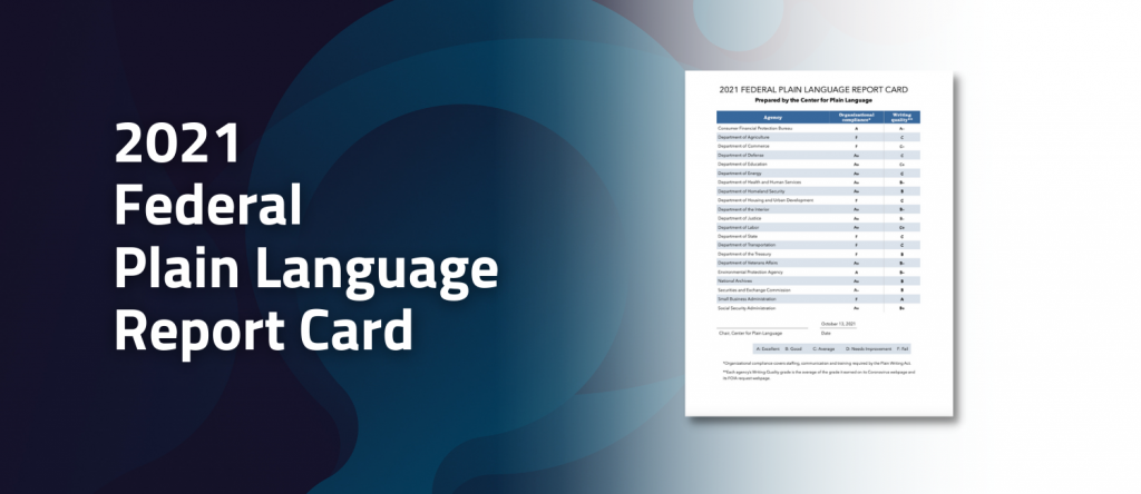 2021 Federal Plain Language Report Card