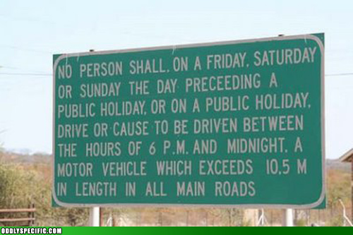 A 47-word road sign